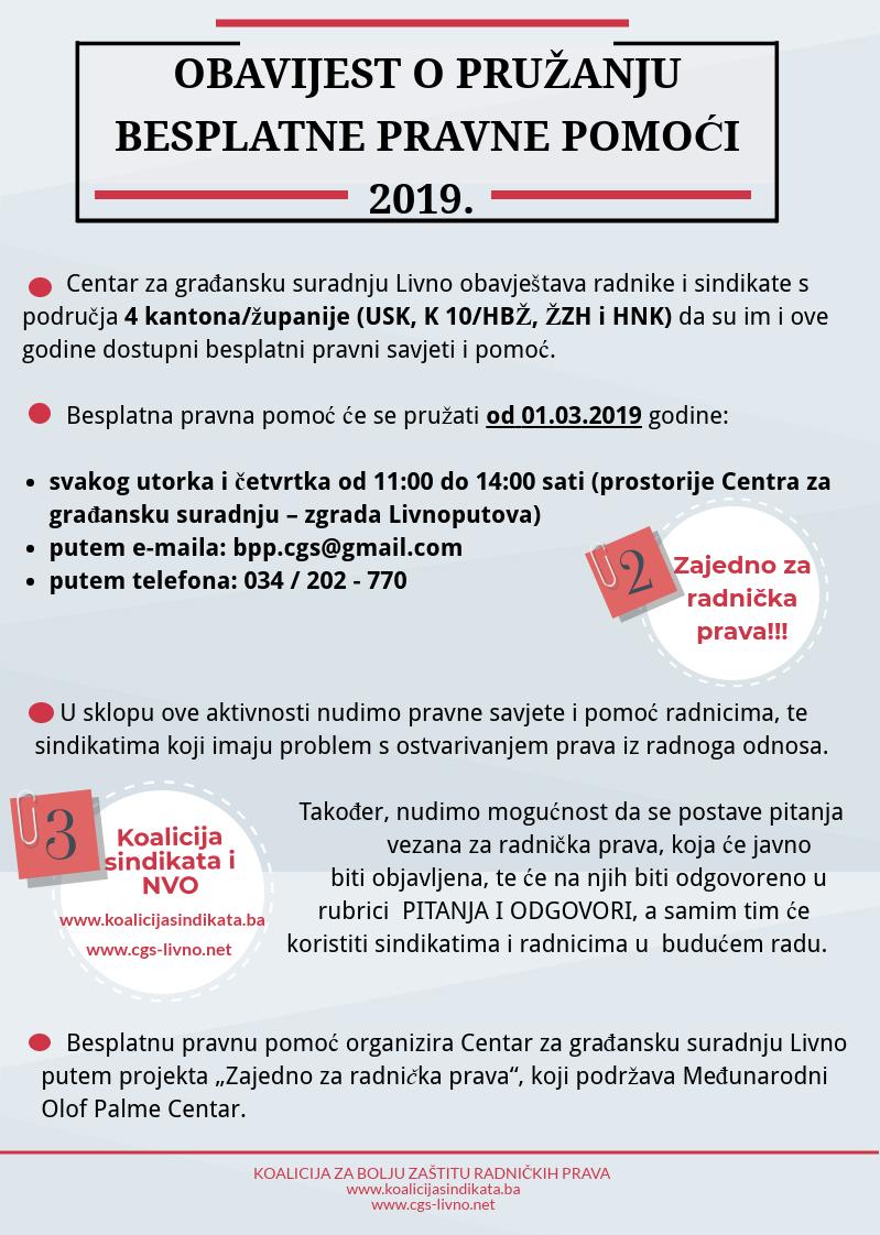 Infografika 2019: Obavijest o prožanju besplatne pravne pomoći
